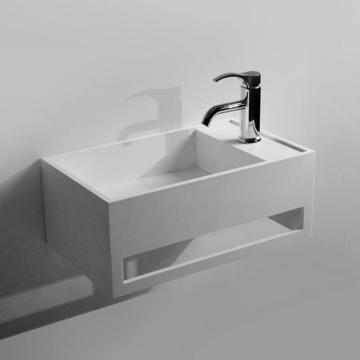 DW-181 Rectangular Wall Mounted Sink with Towel Rack Shown Installed with Separate Faucet