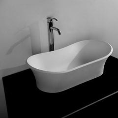 DW-183 Curved Shape Countertop Sink in White Finish Shown Installed