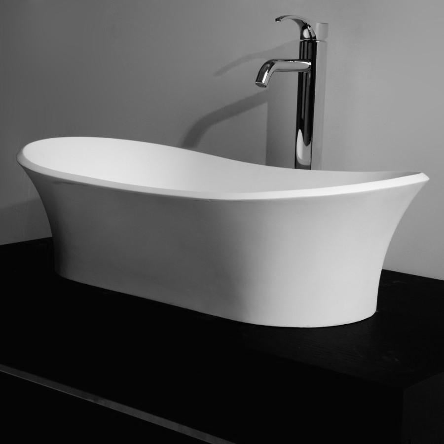 DW-183 Curved Shape Countertop Sink in White Finish Shown Installed with Separate Faucet
