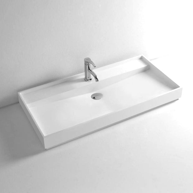 DW-184 Rectangular Countertop Mounted Sink in White Finish Shown with Separate Faucet