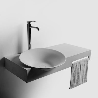 DW-186 Large Round Wall Mounted Sink in White Finish Shown Installed