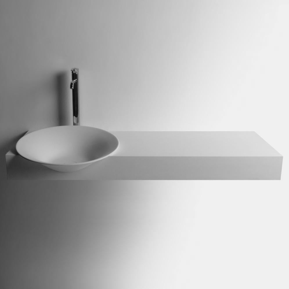 DW-187 Large Round Wall Mounted Sink in White Finish Shown Installed with Separate Faucet