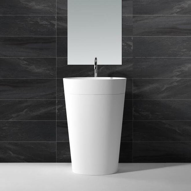 DW-188W Oval Freestanding Bathroom Sink in White Shown Installed with Separate Faucet