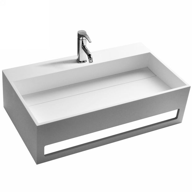 DW-189 Rectangular Countertop Wall Mounted Sink in White with Towel Rack Shown