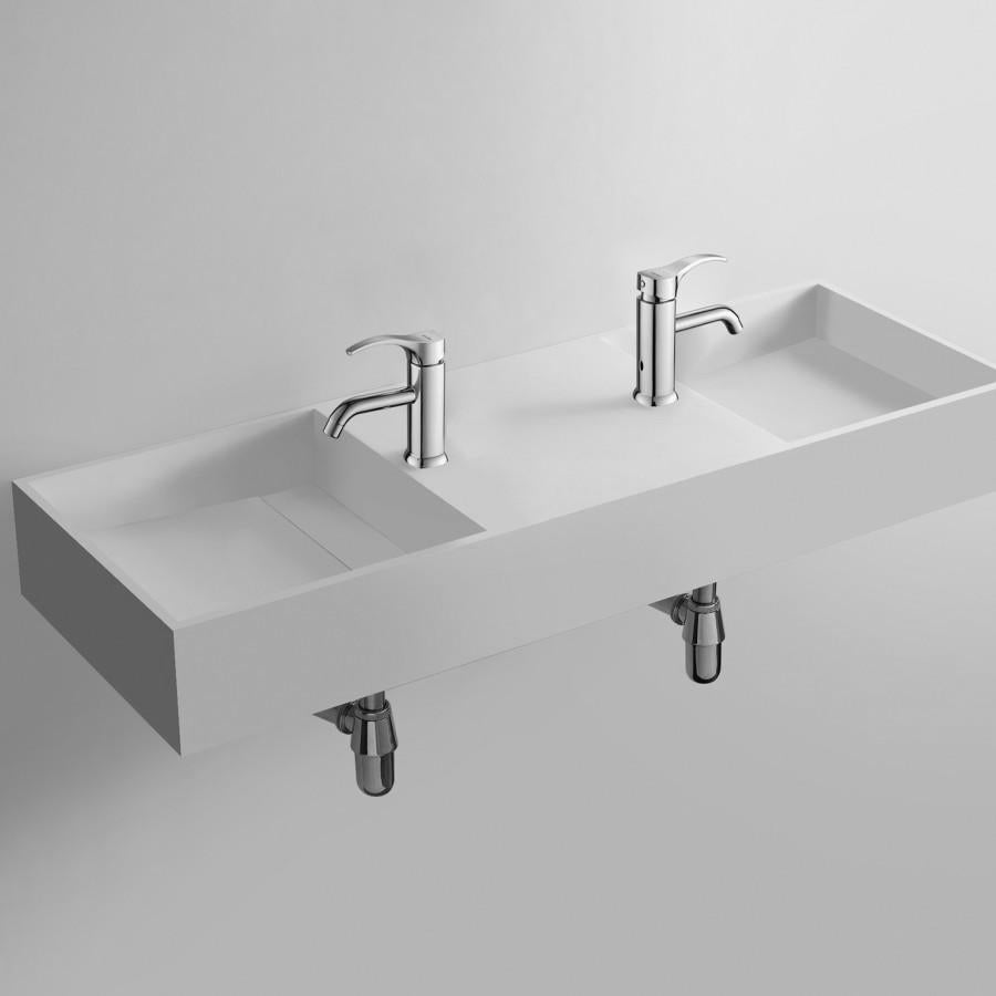 DW-190 Rectangular Countertop Wall Mounted Double Sink in White Finish Shown with Separate Faucet