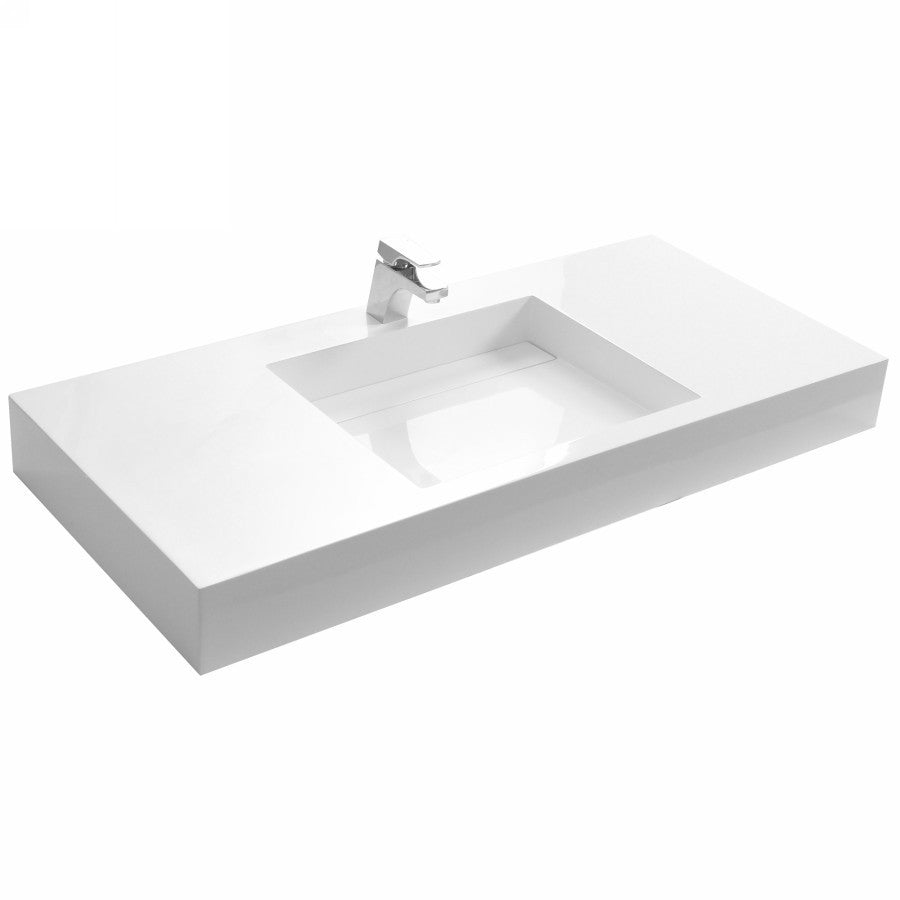 DW-192 Rectangular Wall Mounted Countertop Sink in White Finish Shown