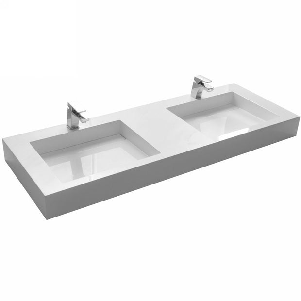 DW-193 Two Faucet Rectangular Wall Mounted Countertop Sink in White Finish Shown Installed