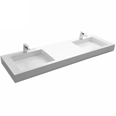 DW-194 Rectangular Wall Mounted Countertop Sink in White Finish Shown Installed with Double Faucet