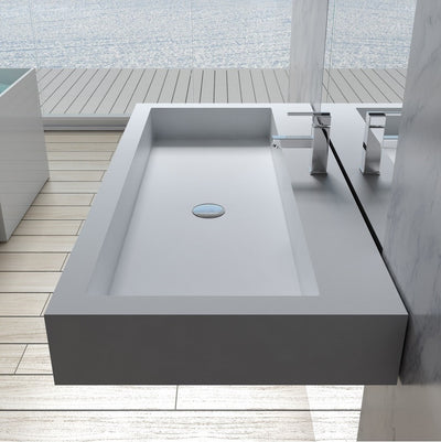 DW-197 Rectangular Countertopo Sink in White Finish Shown Intalled