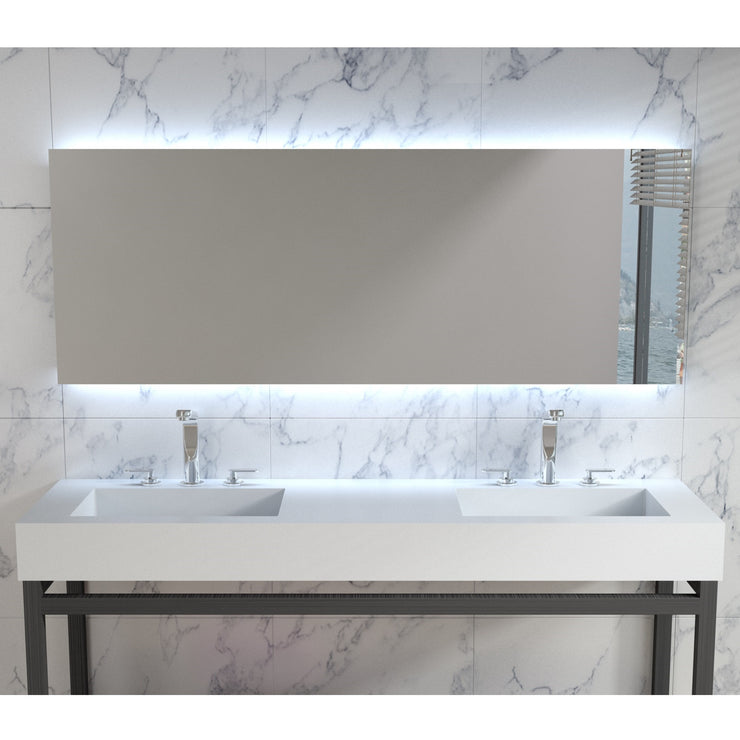 DW-198 Rectangular Wall Mounted Countertop Double Sink in White Finish Shown Installed