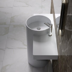 DW-199 Round Circular Freestanding Pedestal Sink in White Finish Shown Installed