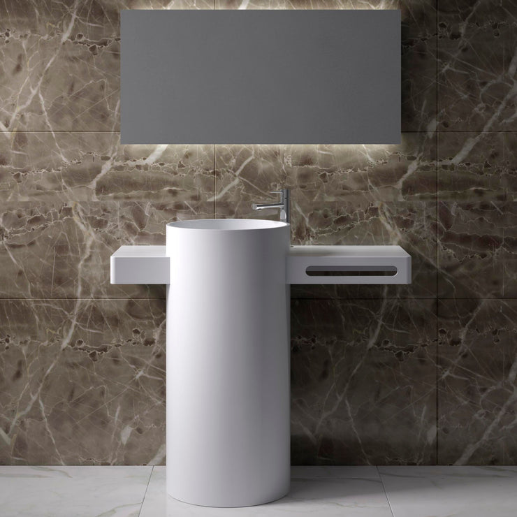 DW-199 Round Circular Freestanding Pedestal Sink in White Finish Shown Installed with Separate Faucet