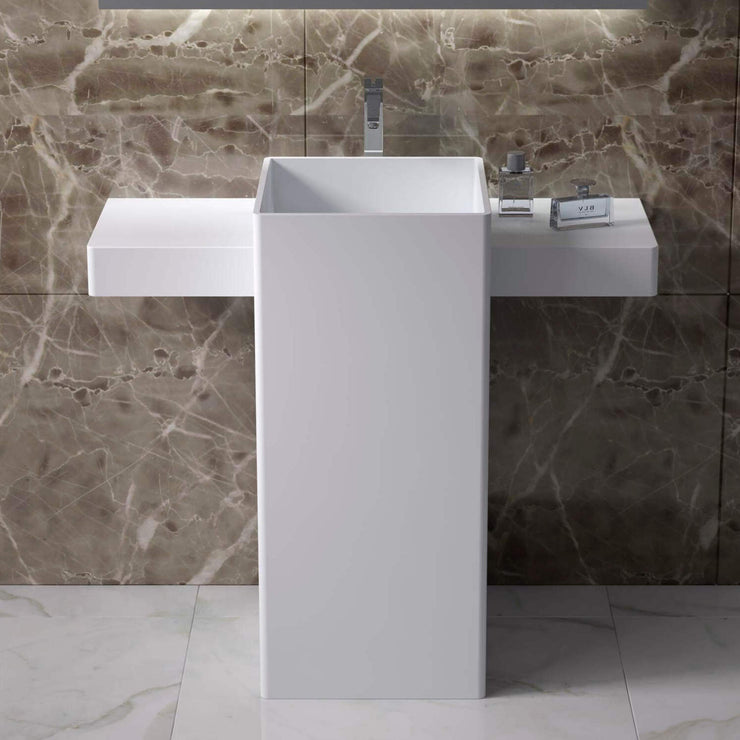 DW-200 Rectangular Freestanding Pedestal Sink in White Finish Shown Installed