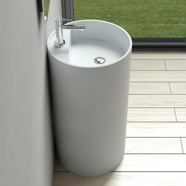 DW-201 Round Freestanding Pedestal Sink in White Finish Shown Installed with Separate Faucet