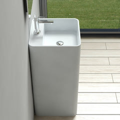 DW-202 Square Freestanding Pedestal Sink in White Finish Shown Installed with Separate Faucet