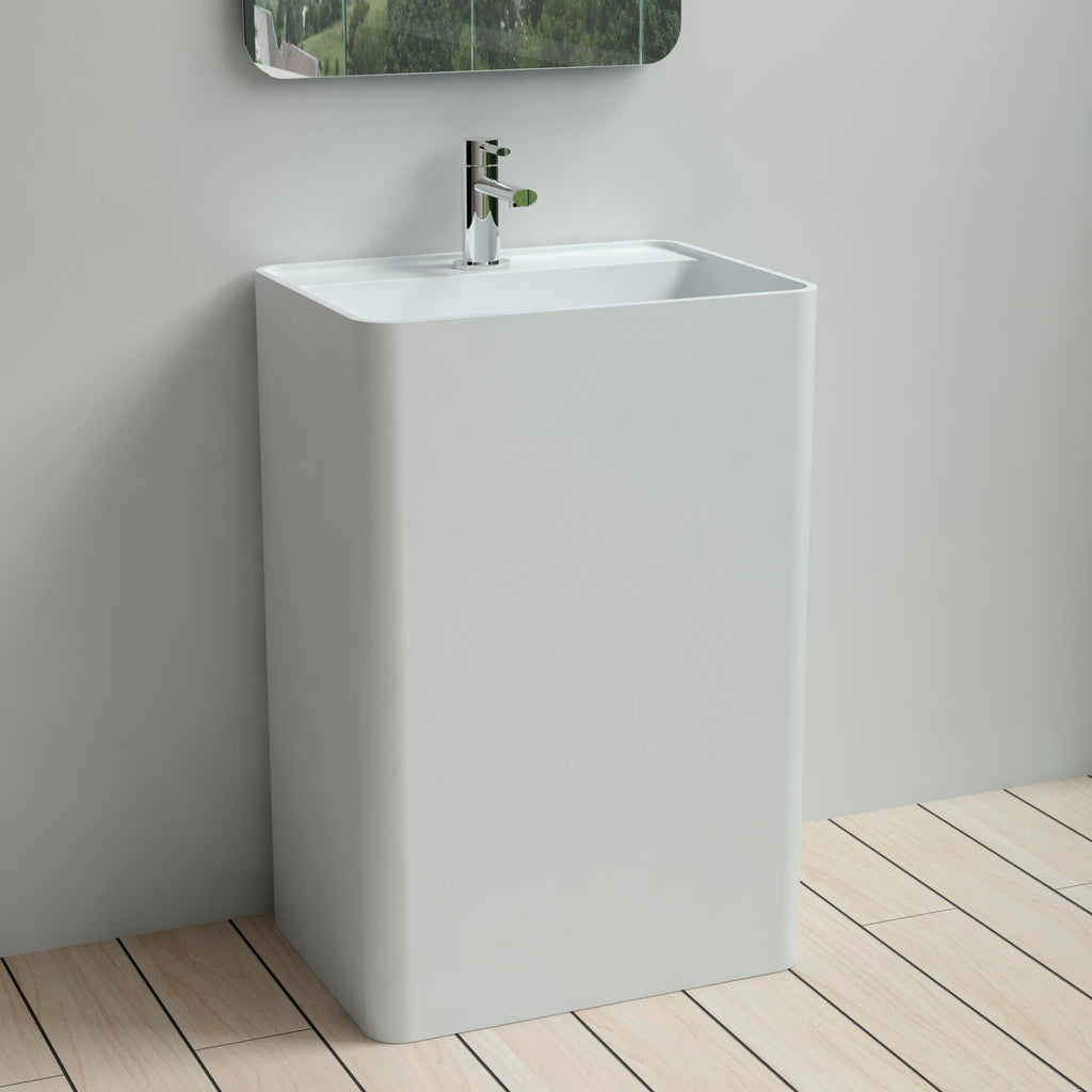 DW-203 Rectangular Freestanding Pedestal Sink in White Finish Shown Installed