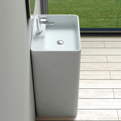 DW-203 Rectangular Freestanding Pedestal Sink in White Finish Shown Installed with Separate Faucet