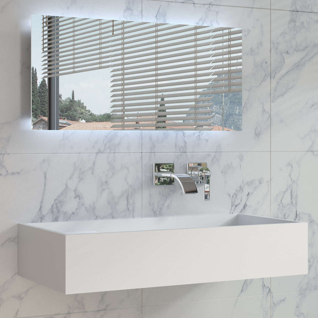 DW-204 Rectangular Countertop Wall Mounted Sink in White Finish Shown in Large Size