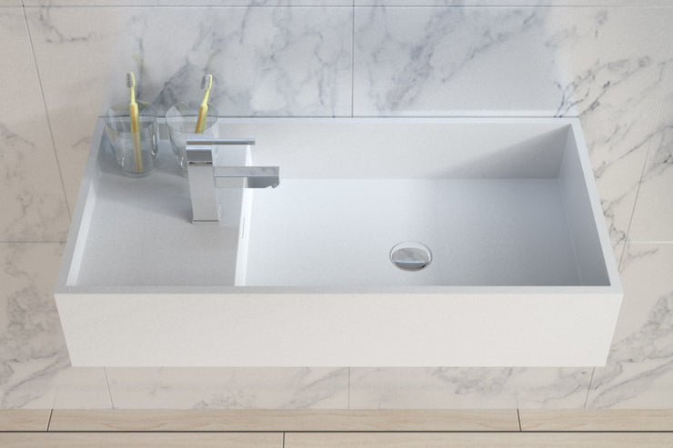 DW-204 Rectangular Countertop Wall Mounted Sink in White Finish Shown on the Right