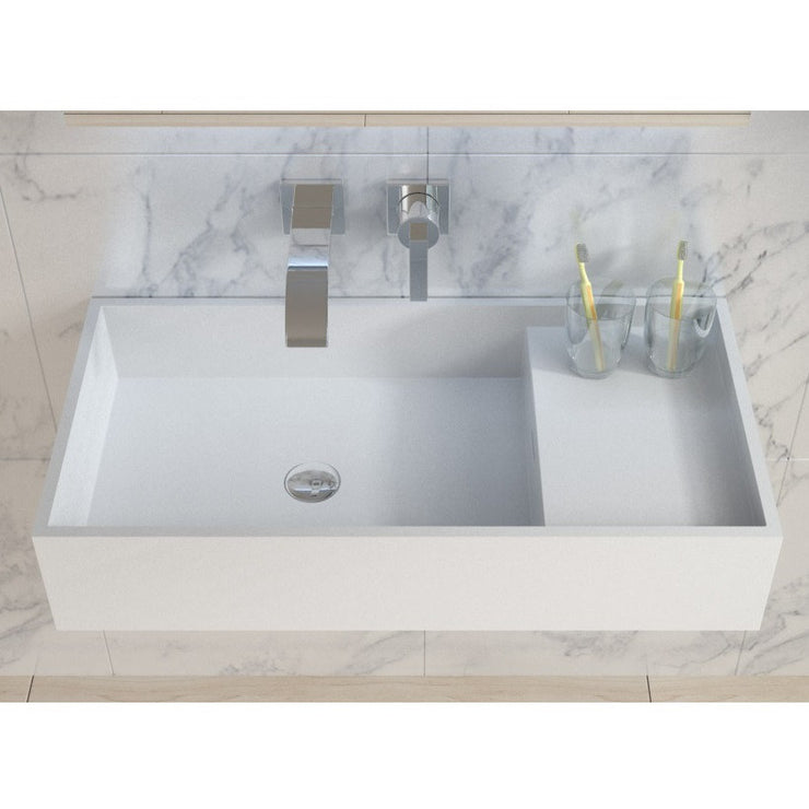 DW-204 Rectangular Countertop Wall Mounted Sink in White Finish Shown Installed with Separate Faucet on the Left