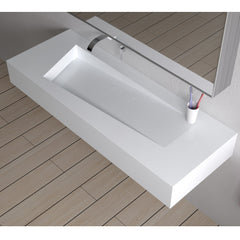 DW-205 Rectangular Wall Mounted Countertop Sink in White Finish Shown Installed with Props