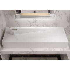 DW-205 Rectangular Wall Mounted Countertop Sink in White Finish Shown