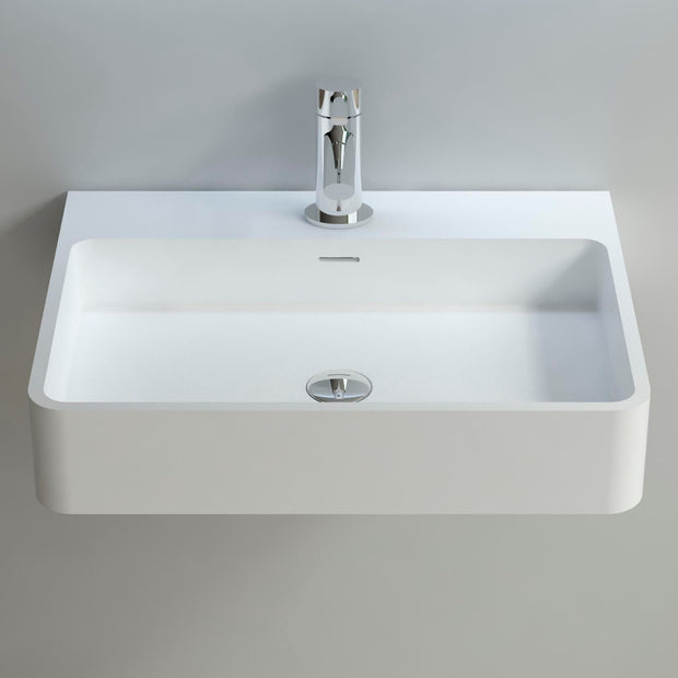 DW-206 Rectangular Wall Mounted Countertop Sink in White Finish Shown Installed with Separate Faucet
