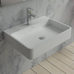 DW-206 Rectangular Wall Mounted Countertop Sink in White Finish Shown Installed