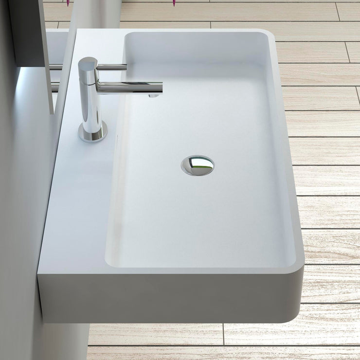 DW-207 Rectangular Wall Mounted Countertop Sink in White Finish Shown Installed