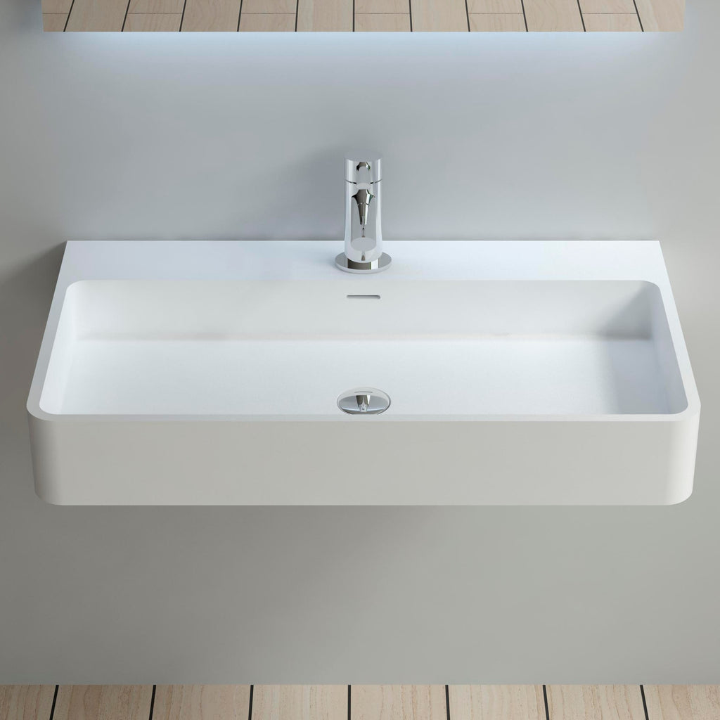 DW-207 Rectangular Wall Mounted Countertop Sink in White Finish Shown Installed with Separate Faucet