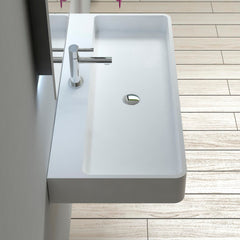 DW-208 Rectangular Wall Mounted Countertop Sink in White Finish Shown Installed