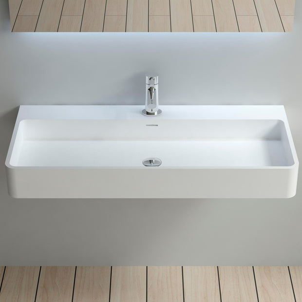DW-208 Rectangular Wall Mounted Countertop Sink in White Finish Shown Installed with Separate Faucet