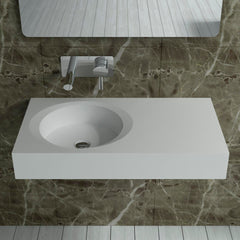 DW-209 Rectangular Wall Mounted Countertop Sink in White Finish Shown Installed with Separate Faucet