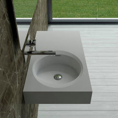 DW-209 Rectangular Wall Mounted Countertop Sink in White Finish Shown Installed