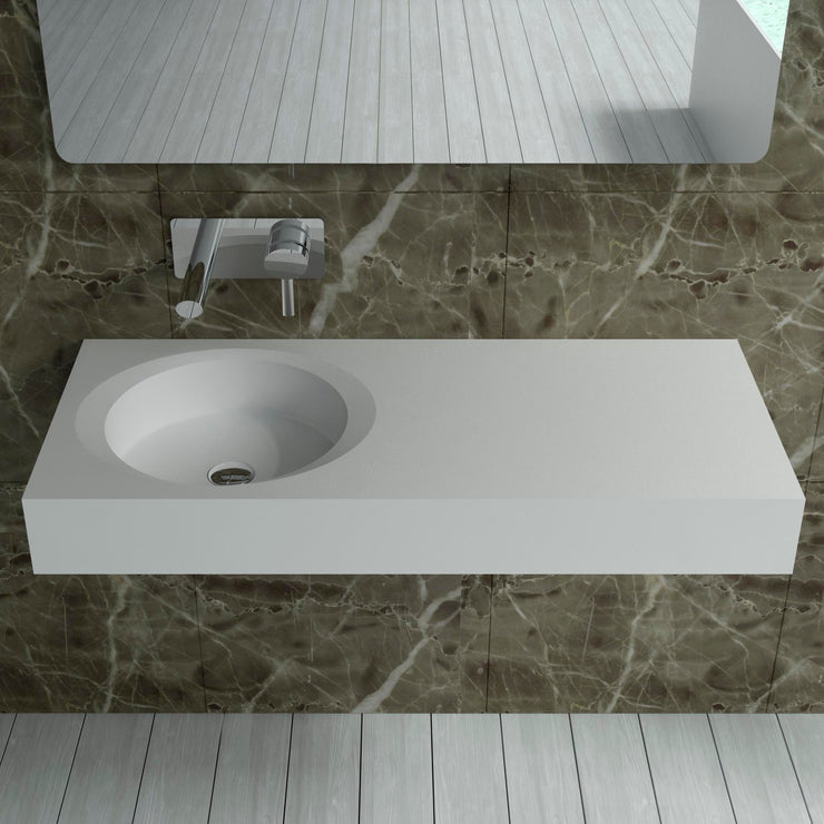 DW-210 Rectangular Wall Mounted Countertop Sink in White Finish Shown Installed with Separate Faucet