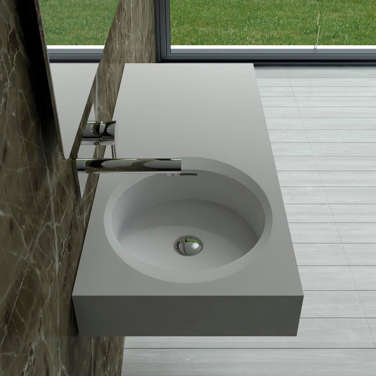 DW-210 Rectangular Wall Mounted Countertop Sink in White Finish Shown Installed