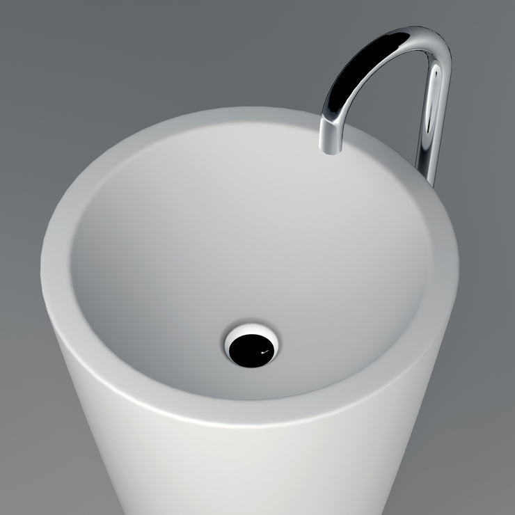 DW-211 Round Freestanding Pedestal Sink in White Finish Shown