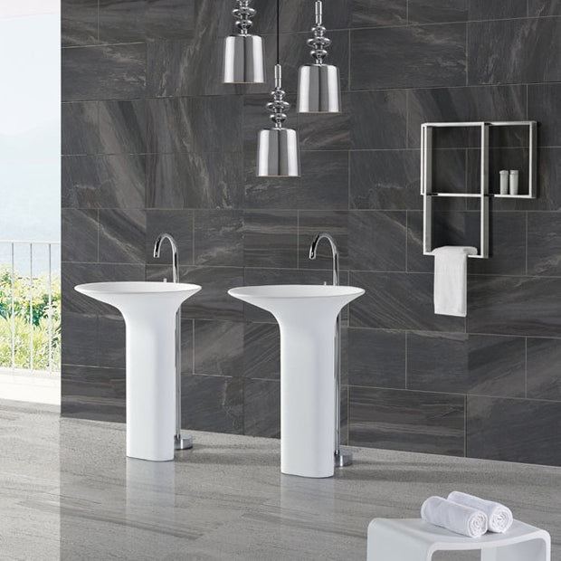 DW-213 Round Shape Freestanding Bathroom Sinks in White Finish Shown