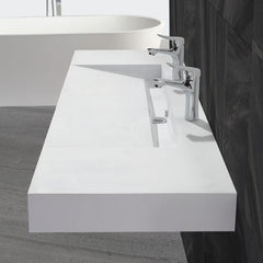 Rectangular Wall Mounted Bathroom Sink Shown