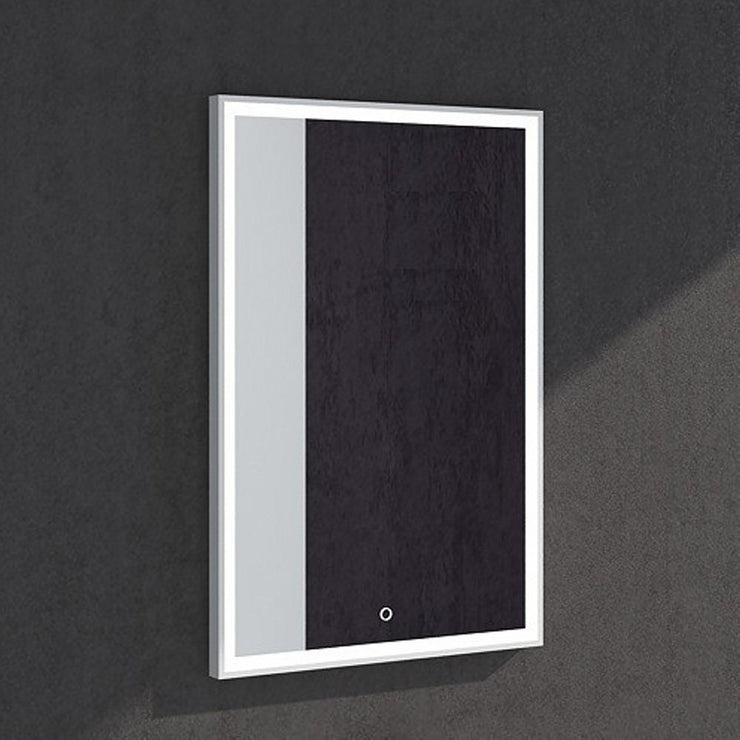 MW-102B Wall Mounted Rectangular Mirror in White Finish Shown Installed
