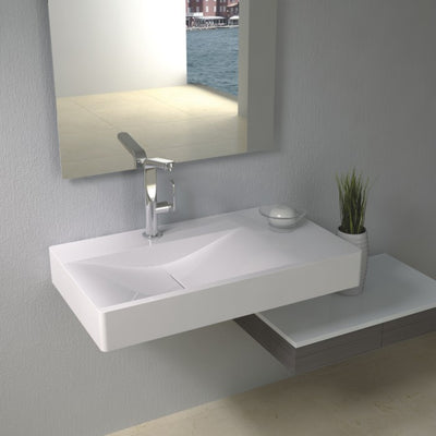 DW-101 Rectangular Wall Mounted Sink Shown Installed