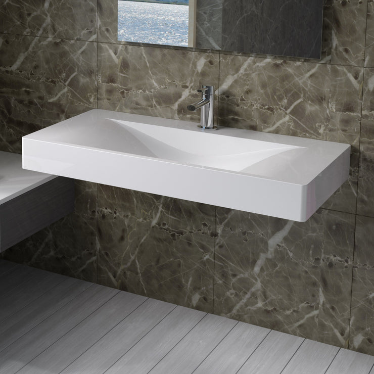 DW-102 Rectangular Wall Mounted Sink Shown Installed