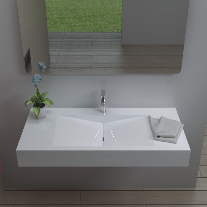DW-113 Rectangular Wall Mounted Sink Shown Installed
