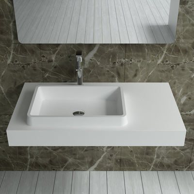DW-114 Rectangular Wall Mounted Sink Shown Installed