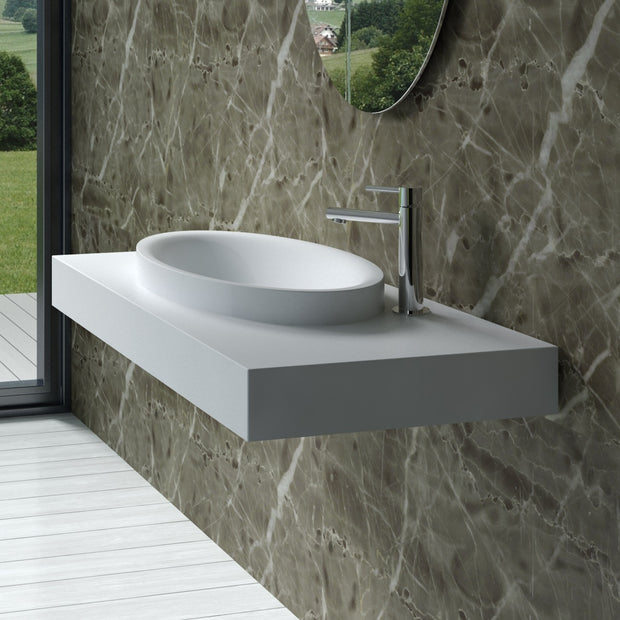DW-115 Rectangular Wall Mounted Sink Shown