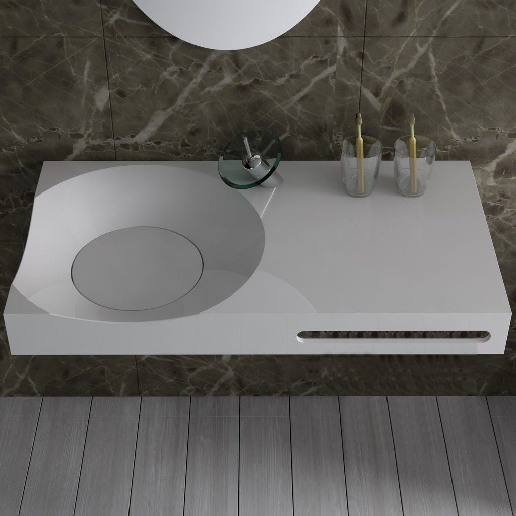 DW-118 Rectangular Wall Mounted Sink Shown Installed