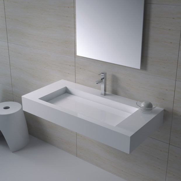 DW-120 Rectangular Wall Mounted Sink Shown Installed