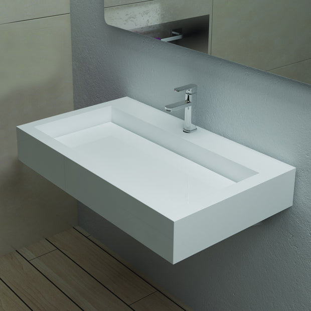 DW-121 Rectangular Wall Mounted Sink Shown