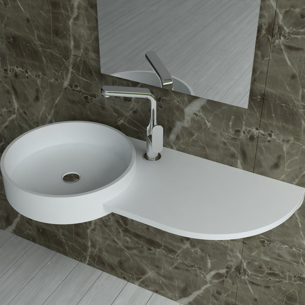 DW-123 Rectangular Wall Mounted Sink Shown Installed