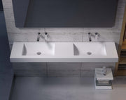 DW-218 Wall Mounted Bathroom Sink Rectangular Shape in White Finish Shown Installed